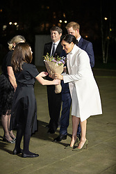 The Duke and Duchess of Sussex arrive at a gala performance of The Wider Earth at the Natural History Museum in London.