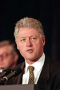 US President Bill Clinton address the opening session of the International Monetary Fund World Bank annual meeting October 6, 1998 in Washington, DC.