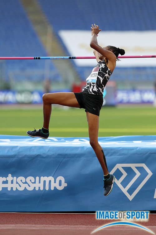 Levern Spencer (STL) places fifth in the women's high jump at 6-½ (1.84m) during the Mennea Golden Gala at Stadio Olimpico, Thursday, Sept. 17, 2020, in Rome. (Jiro Mochizuki/Image of Sport)