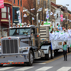 York, PA / USA - March 12, 2016: An elaborate float on a truck tractor trailer  in the annual Saint Patrick's Day Parade.
