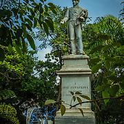 Imposing statue of Jose Fernandez de Madrid in the Plaza Fernandez de Madrid, Old City, Cuidad Vieja, Cartagena, Colombia.