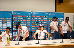 David Kukovec, Darja Crnko, Ilka Stuhec, Jani Gril and Stefan Abplanalp during press conference of new alpine ski team of Ilka Stuhec before new season 2019/20, on June 10, 2019 in Telekom Slovenije, Ljubljana, Slovenia. Photo by Vid Ponikvar / Sportida