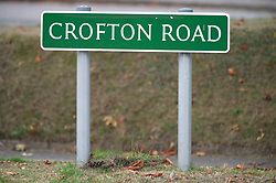 ©Licensed to London News Pictures 16/09/2020  <br /> Orpington, UK. Crofton road sign. A police investigation has been launched after a man attempted to abduct two eleven year old school girls in Orpington, South East London. Police say the girls were near a bus stop in Crofton Road at around 3pm last Wednesday when they were approached by the suspect who got out of a car and tried to grab them, the girls ran back to school. Photo credit:Grant Falvey/LNP