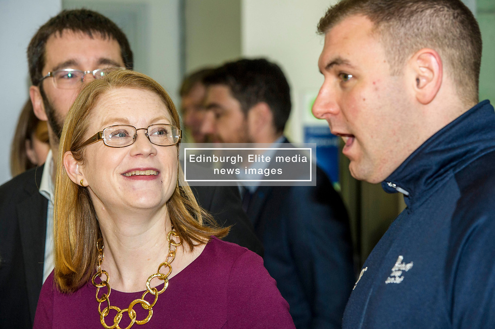 Pictured: Edinburgh College Sports coordinator Ryan Mahoney took the minister on a tour of the facilities at Edinburgh College..<br /> <br /> Further and Higher Education Minister Shirley-Anne Somerville visited Edinburgh College's Granton campus to view the sport facilities and to announce a new GBP465,000 investment fund for the student sport sector.<br /> <br /> Ger Harley | EEm 8 February 2018