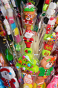 Marshamallow lollipops in Christmas shapes for sale in a Oaxacan shop, Mexico.