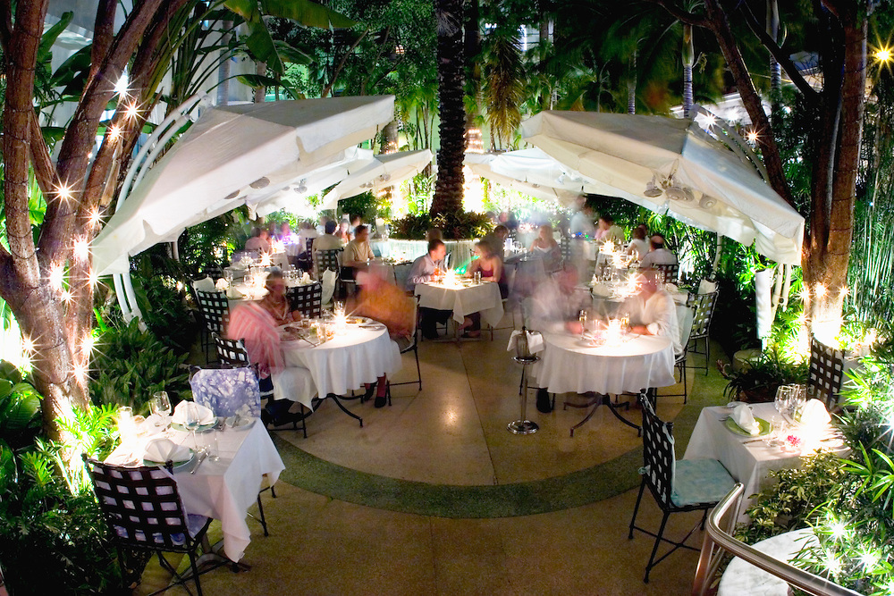 Dining outdoors at Wish, a restuarant in The Hotel in Miami Beach's trendy South Beach neighborhood