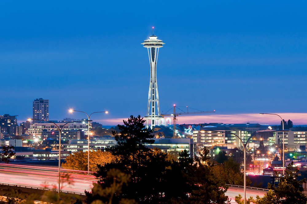 The Seattle skyline at night. Photo by William Drumm.