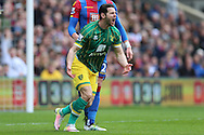 Matthew Jarvis of Norwhich City shouting at Referee Michael Oliver for not awarding a penalty. Barclays Premier League match, Crystal Palace v Norwich city at Selhurst Park in London on Saturday 9th April 2016. pic by John Patrick Fletcher, Andrew Orchard sports photography.