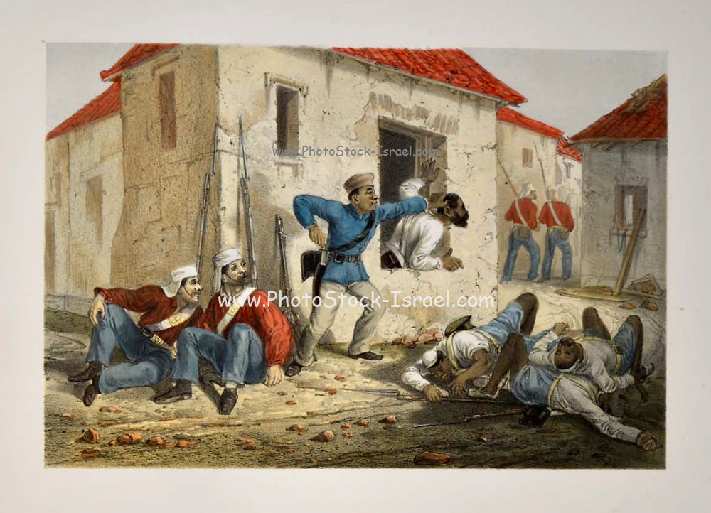 Incident in the Subzee Mundee Lithograph from the book Campaign in India 1857-58 Illustrating the military operations before Delhi ; 26 Hand coloured Lithographed plates. by George Francklin Atkinson Published by Day & Son Lithographers to the Queen in 1859