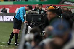 February 3, 2019 - Lisbon, Portugal - Referee Artur Soares Dias checks the VAR during the Portuguese League football match Sporting CP vs SL Benfica at Alvalade stadium in Lisbon, Portugal on February 3, 2019. (Credit Image: © Pedro Fiuza/NurPhoto via ZUMA Press)