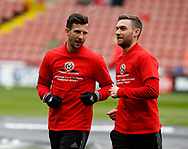 Jake Wright of Sheffield Utd  and Jay O'Shea of Sheffield Utd warm up during the English League One match at Bramall Lane Stadium, Sheffield. Picture date: April 17th 2017. Pic credit should read: Simon Bellis/Sportimage