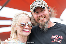 Custom bike builder Wayne Burgess with his wife Nancy at the Flying Piston Builder Breakfast at the Buffalo Chip during the 78th annual Sturgis Motorcycle Rally. Sturgis, SD. USA. Sunday August 5, 2018. Photography ©2018 Michael Lichter.