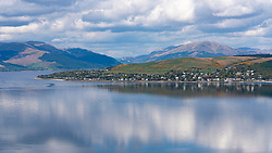 View across River Clyde to Kilcreggan village, Argyll and Bute, Scotland, UK
