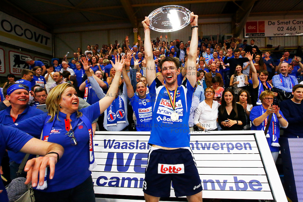 20150501 BEL: Volley Behappy2 Asse-Lennik - Knack Roeselare, Zellik<br />Joppe Paulides (3) of Knack Volley Roeselare<br />©2014-FotoHoogendoorn.nl / Pim Waslander