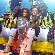 Fenerbahce players celebrate with the Turkish Super League championship trophy at the Sukru Saracoglu stadium Istanbul May 23, 2011. Fenerbahce clinched their 18th Turkish league title with a 4-3 win over Sivasspor on Sunday, moving ahead of the 17 won by arch-rivals Galatasaray. Photo by TURKPIX