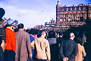 Large crowd watching at the 18th hole of St Andrews golf course , Scotland 1967