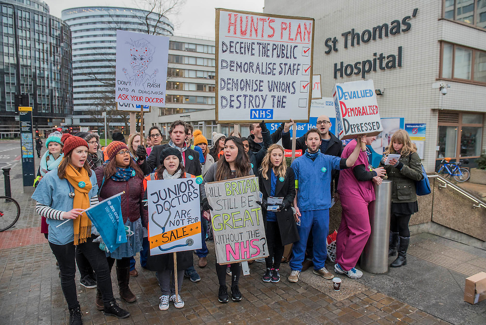 The picket line at St Thomas' Hospital. The second official junior doctors strike started at 8 AM this morning against proposals by the government.