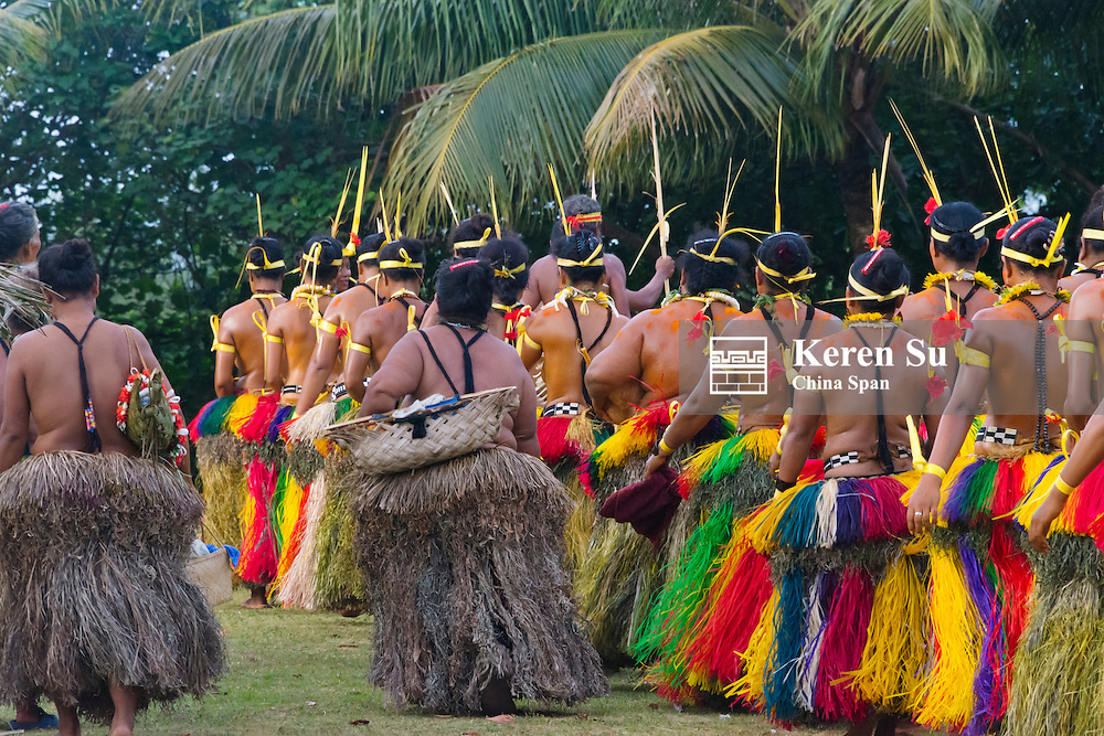 Yapese women in traditional clothing dancing at Yap Day Festival, Yap Island, Federated States of Micronesia