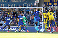 AFC Wimbledon midfielder Tom Soares (19) clearing the ball from a corner during the EFL Sky Bet League 1 match between AFC Wimbledon and Oxford United at the Cherry Red Records Stadium, Kingston, England on 29 September 2018.