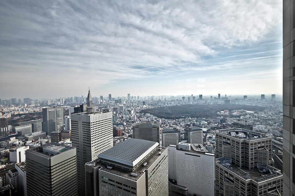 view from the Metropolitan Government Office building in Tokyo looking towards Shinjuku Gyoen National garden