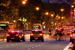 Traffic night taxis buses cars brake lights