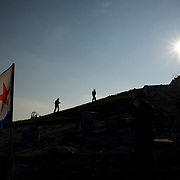 Separatist fighters on patrol in Savur-Mohyla, a Second World War monument close to the Russian border, near Snizhne.