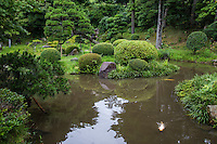 Jinpukaku Garden is adjact to the Jimpukaku Mansion in Tottori.  The grounds are just below the ruins of  Tottori Castle - long under the control of the Ikeda clan.  The garden is also referred to as Horyuin or Horyu-in.