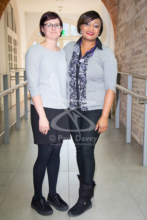 DAILY EXPRESS. Physiotherapist Jill Taylor and nurse Suzan Owenama at the Unison headquarters in London on the day that the latest NHS pay offer for all staff aside from doctors and dentists is revealed with increases between 6.5 and 29% . London, March 21 2018.
