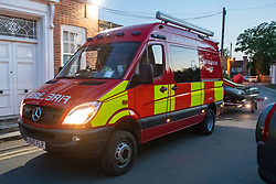© Licensed to London News Pictures. 23/06/2020. Cookham, UK. A Buckinghamshire Fire & Rescue Service Water Rescue Unit van towing an inflatable boat arrives at the scene. A search and rescue operation was launched Tuesday evening after reports that several people, believed to be refugees from Syria, got into difficulties, it is understood that one person was rescued and transferred to hospital and one person remained unaccounted for. Multiple emergency resources were deployed to the scene, close to Odney Common in Cookham, including lowland search and rescue teams. Photo credit: Peter Manning/LNP