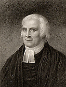 David Bogue (1750-1825) English Congregational minister. Founder of the London Missionary Society, British and Foreign Bible Society, Religious Tract Society. Stipple engraving from 'New Evangelical Magazine'.