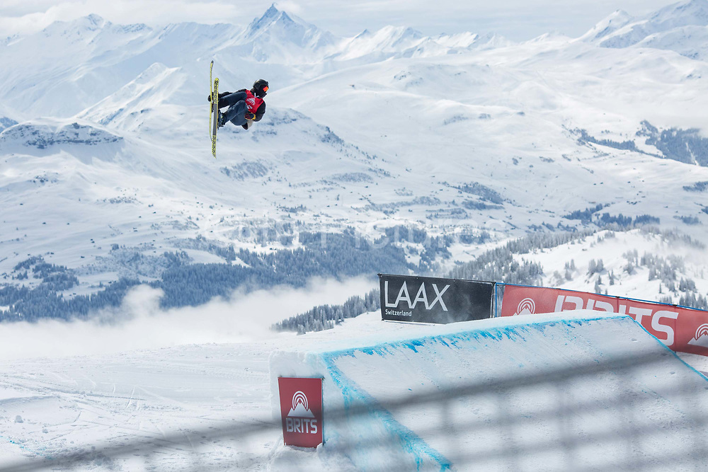 A freeskier during The British Snowboard And Freeski Championships on the 5th April 2019 in Laax ski resort in Switzerland.