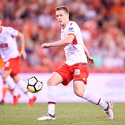 BRISBANE, AUSTRALIA - MARCH 3: Ryan Kitto of Adelaide passes the ball during the Round 22 Hyundai A-League match between Brisbane Roar and Adelaide United on March 3, 2018 in Brisbane, Australia. (Photo by Patrick Kearney / Brisbane Roar FC)