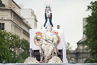 Sergio Ramos with the cup during the celebration of the victory of the Real Madrid Champions League at Plaza de Cibeles in Madrid. May 28. 2016. (ALTERPHOTOS/Borja B.Hojas)