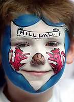 Photo: SBI/Digitalsport<br /> NORWAY ONLY<br /> <br /> Manchester United v Millwall. FA Cup Final. 22/05/2004.<br /> A young Millwall fan finds the spirit nto pull a smile