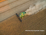 63801-09319 Soybean Harvest, John Deere combine harvesting soybeans - aerial - Marion Co. IL