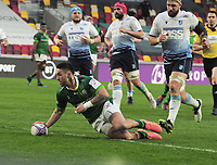 Rugby Union - 2020 / 2021 European Rugby Challenge Cup - Round of 16 - London Irish vs Cardiff - Brentford Community Stadium<br /> <br /> Terrence Hepetema of London Irish goes over for his 2nd half try<br /> <br /> Credit  COLORSPORT/ANDREW COWIE