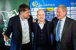 Ranko Stojic, sports director, Marko Nikolic, new head coach of NK Olimpija Ljubljana and Milan Mandaric, president of NK Olimpija during press conference when presented Olimpija's new coach, on January 11, 2016 in Austria Trend Hotel, Ljubljana, Slovenia. Photo by Vid Ponikvar / Sportida