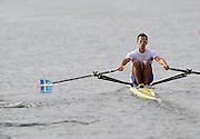 Marathon, GREECE,  GRE M1X, Ioannis CHRISTOU  sculls semi final A/B, at the FISA European Rowing Championships.  Lake Schinias Rowing Course, 19 19/09/2008  [Mandatory Credit Peter Spurrier/ Intersport Images] , Rowing Course; Lake Schinias Olympic Rowing Course. GREECE