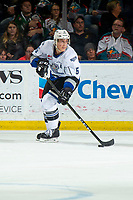KELOWNA, BC - NOVEMBER 6:  Mitch Prowse #5 of the Victoria Royals skates with the puck against the Kelowna Rockets at Prospera Place on November 6, 2019 in Kelowna, Canada. (Photo by Marissa Baecker/Shoot the Breeze)