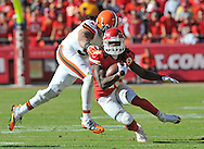 KANSAS CITY, MO - OCTOBER 27:  Running back Jamaal Charles #25 of the Kansas City Chiefs rushes past linebacker Jabaal Sheard #97 of the Cleveland Browns during the second half on October 27, 2013 at Arrowhead Stadium in Kansas City, Missouri.  Kansas City won 23-17. (Photo by Peter Aiken/Getty Images) *** Local Caption *** Jamaal Charles;Jabaal Sheard