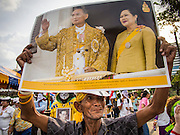 05 AUGUST 2013 - BANGKOK, THAILAND: A supporter of Bhumibol Adulyadej, the King of Thailand, and Queen Sirikit holds up a picture of their majesties during an anti-government protest in Bangkok. About 500 people, members of the  People's Army against Thaksin Regime, a new anti-government group, protested in Lumpini Park in central Bangkok. The protest was peaceful but more militant protests are expected later in the week when the Parliament is expected to debate an amnesty bill which could allow Thaksin Shinawatra, the exiled former Prime Minister, to return to Thailand.    PHOTO BY JACK KURTZ