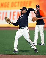 Oct 7, 2021; San Francisco, CA, USA; San Francisco Giants outfielder LaMonte Wade Jr. throws the ball during NLDS workouts. Mandatory Credit: D. Ross Cameron-USA TODAY Sports