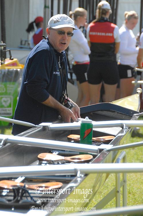 Hamilton, New Zealand, 2010  World Rowing Championships, Lake Karapiro Tuesday  02/11/2010  AUS COach, Noel DONALDSON, attends to boat  [Mandatory Credit Karon Phillips/Intersport Images]