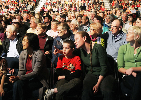 The studio audience watches a taping of the Wheel of Fortune television show at the Oregon Convention Center in Portland on Monday, April 2, 2012.