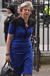 © Licensed to London News Pictures. 20/06/2019. London, UK. British Prime Minister Theresa May arrives to attend a Service of Thanksgiving for Lord Haywood at Westminster Abbey. Jeremy Heywood served as Cabinet Secretary from 2012 and Head of the Home Civil Service until shortly before his death in 2018. Photo credit: Ray Tang/LNP