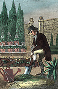 The Gardener digging with spade, while in front of him are a watering can, rake and hoe. Hand-coloured woodcut from 'The Book of English Trades' London 1821.