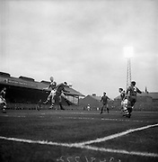 08/04/1964<br /> 04/08/1964<br /> 08 April 1964<br /> European Nations Cup second leg: Ireland v Spain at Dalymount park, Dublin.  Spain beat Ireland 2-0 in the second leg of the European Nations Cup. Spanish back Rivilla (2nd left) beats McEvoy in a heading duel. Other players are Calleja (3) Spanish back and Turner Irish forward (2nd from right)