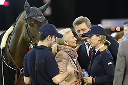 Lacrimoso 's owner Emmanuelle Perron Pette and former owner Katharina Offel<br /> CSI 5* Longines Hong Kong Masters 2013<br /> © Hippo Foto - Counet Julien