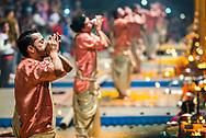Ganga Aarti Hindu ceremony at Dasaswamedh Ghat, Varanasi, Uttar Pradesh, India