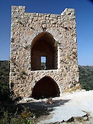 "Monfort A Crusader castle in Western Galilee, Israel The ruins of the once splendid Montfort Crusader castle, are located on a precipitous rock crest, overlooking the Keziv river. The castle was constructed by Templar Crusader knights in the early 12th century. Short after completion the building was destroyed by Salah al Din after the defeat of the Crusaders at the Horns of Hittim on 3-4 July 1187.<br /> <br /> Five years later, the castle was re-conquered by the Crusaders, who restored it. In 1220, Montfort was sold to the Crusader Knights of the German Teutonic Order and gave it the name ""Starkenberg"" which means strong mountain"